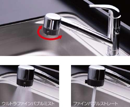 ミラブルキッチンの水流の切り替え例